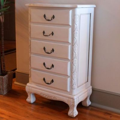 Five Drawer Carved Jewelry Chest in Antique White - 3986-AW