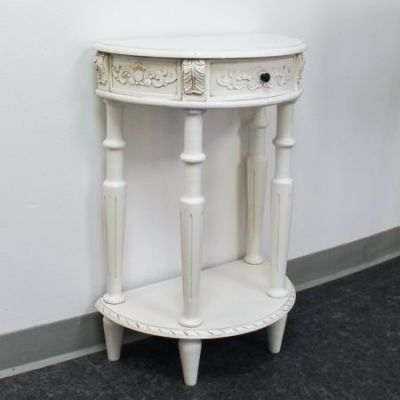 Carved Small 1/2 Moon 2-Tier Wall Table in Antique White - 3989-AW