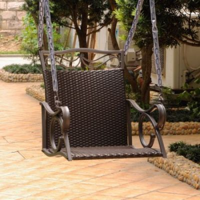 Valencia Resin Wicker Single Chair Swing in Chocolate - 4101-SGL-CH
