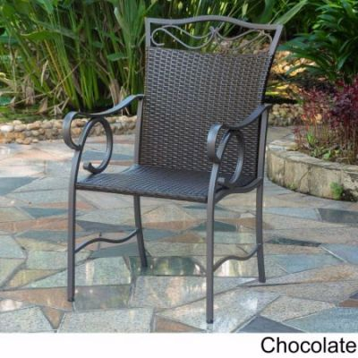 Set of 2 Valencia Resin Wicker Chairs in Chocolate - 4108-2CH-CH