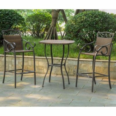 Set of 3 Valencia Wicker Bar Height Bistro Group in Brown - 4110-S3-ABN