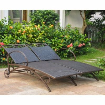 Valencia Resin Wicker Double Chaise Lounge in Chocolate - 4111-DBL-CH