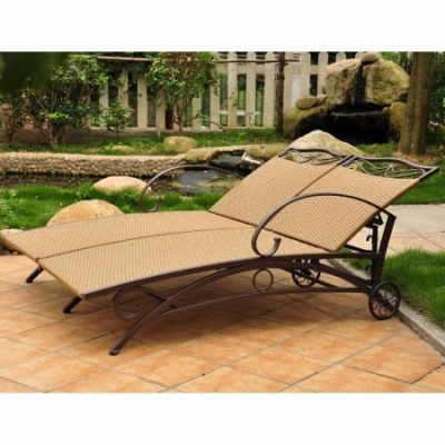 Valencia Resin Wicker Double Chaise Lounge in Honey - 4111-DBL-HY