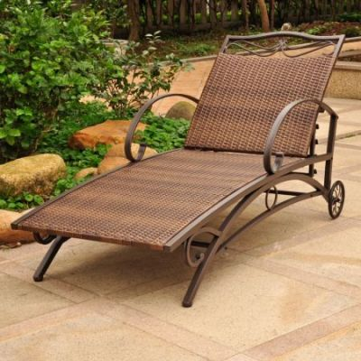 Valencia Resin Wicker Single Chaise Lounge in Antique Brown - 4111-SGL-ABN
