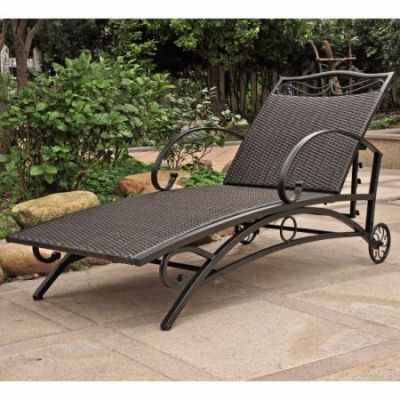 Valencia Resin Wicker Single Chaise Lounge in Black Antique - 4111-SGL-BKA