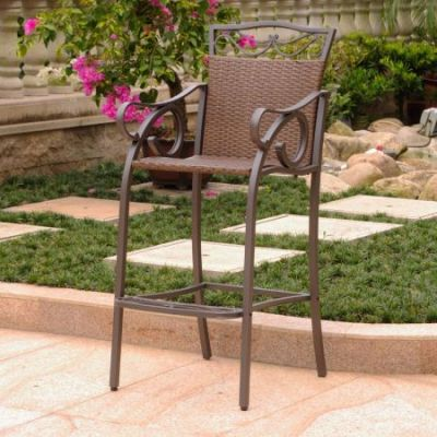 Set of 2 Valencia Wicker Bar Bistro Chairs in Antique Brown - 4119-2CH-ABN