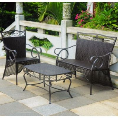 Set of 3 Valencia Wicker Skirted Settee Group in Chocolate - 4132-S3-CH