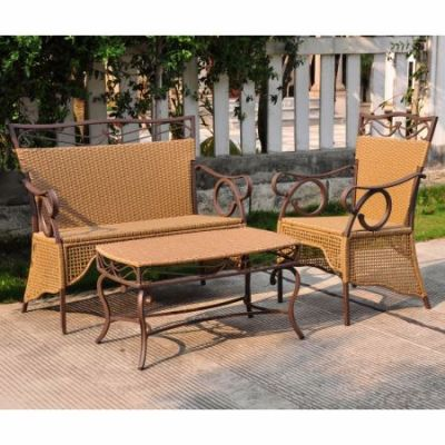 Set of 3 Valencia Resin Wicker Skirted Settee Group in Honey - 4132-S3-HY