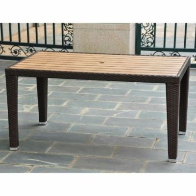 Barcelona Resin Wicker Rectangular Dining Table in Chocolate - 4200-RT-CH