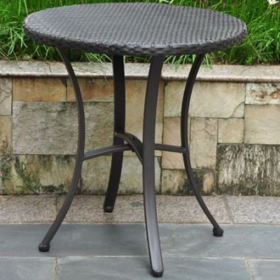 Barcelona Resin Wicker 28'' Round Table in Black - 4203-RD-BKA
