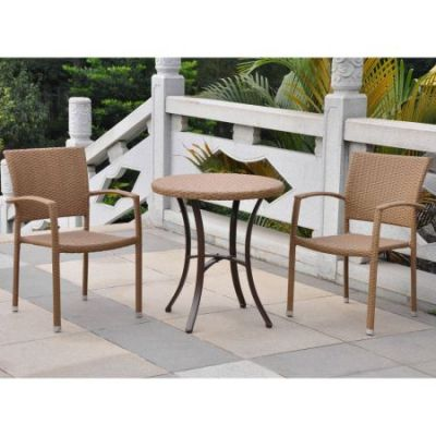 Set of Three Barcelona Resin Wicker Bistro Group in Honey - 4203-RD-HY-S/3