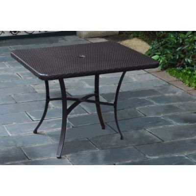 Barcelona Resin Wicker 39'' Square Dining Table in Chocolate - 4206-SQ-CH