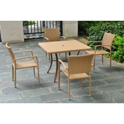 Set of 5 Barcelona Resin Wicker Square Dining Group in Honey - 4206-SQ-S/5-HY