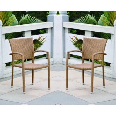 Barcelona Set of 2 Resin Wicker Dining Chair in Honey - 4210-SQ-2CH-HY