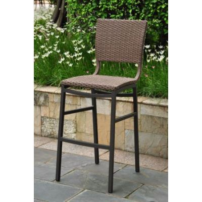 Barcelona Set of 2 Resin Wicker Bar Stools in Antique Brown - 4215-2CH-ABN