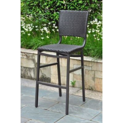 Barcelona Set of 2 Resin Wicker Bar Stools in Black Antique - 4215-2CH-BKA