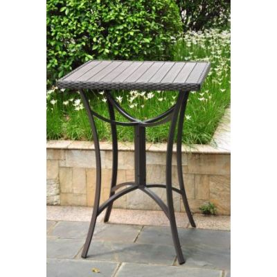 Barcelona 32 inch Square Wicker Bar Table in Black Antique - 4215-TBL-BKA