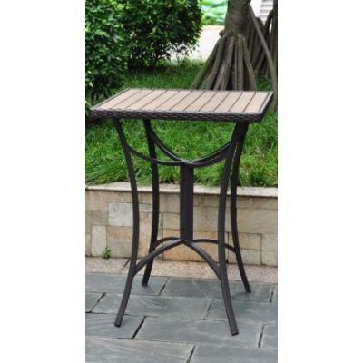 Barcelona 32 inch Square Resin Wicker Bar Table in Chocolate - 4215-TBL-CH