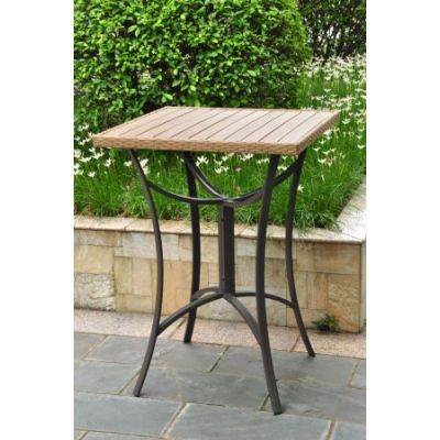 Barcelona 32 inch Square Resin Wicker Bar Table in Honey - 4215-TBL-HY