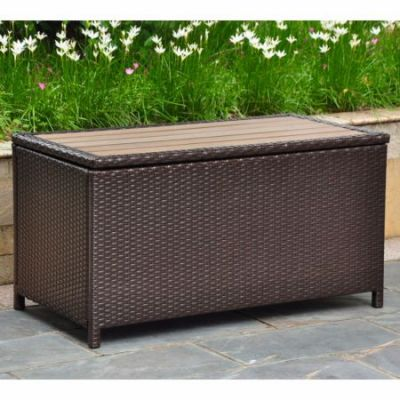 Barcelona Resin Wicker Storage Trunk in Chocolate - 4220-CH