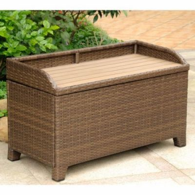 Barcelona Wicker Storage Bench with Edge in Antique Brown - 4221-ABN