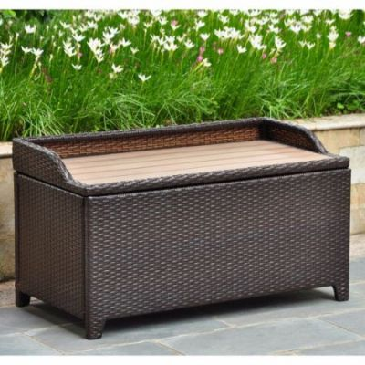 Barcelona Wicker Storage Bench with Edge Lip in Chocolate - 4221-CH