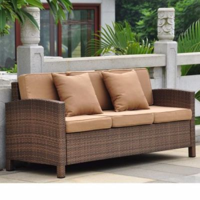 Barcelona Three Seat Sofa w/Cushions in Antique Brown - 4251-SF-ABN-CF
