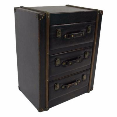 3 Drawer Faux Leather Chest in Antique Black - 47B-14A028