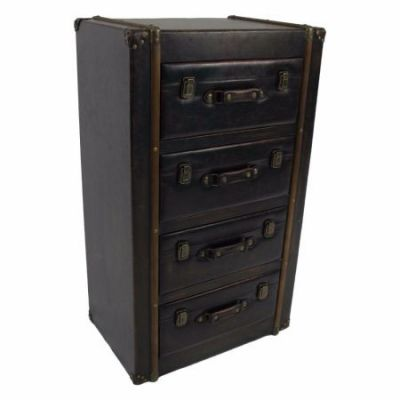 4 Drawer Faux Leather Chest in Antique Black - 47B-14A029