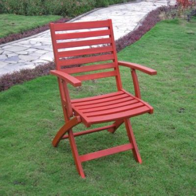 Acacia Folding S/2 Ladder Back Armchair with Barn Red - FA-127-2CH-BRD
