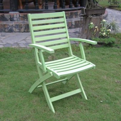 Acacia Folding S/2 Ladder Back Armchair with Mint Green - FA-127-2CH-MGN