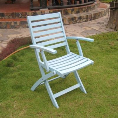 Acacia Folding S/2 Ladder Back Armchair with Sky Blue - FA-127-2CH-SKB