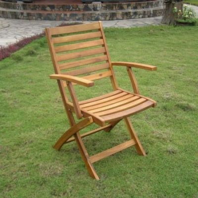 Acacia Folding S/2 Ladder Back Armchair in Rustic Brown - FA-127-2CH-STN