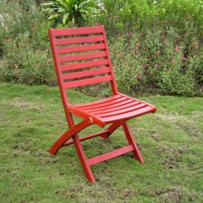 Acacia Set of 2 Folding Ladder Back Chair with Barn Red - FC-126-2CH-BRD