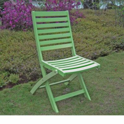 Acacia Set of 2 Folding Ladder Back Chair with Mint Green - FC-126-2CH-MGN