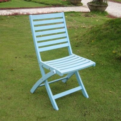 Acacia Set of 2 Folding Ladder Back Chair with Sky Blue - FC-126-2CH-SKB
