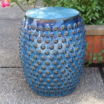 Perforated Navy Blue Drum Ceramic Garden Stool - OPG-070-NV