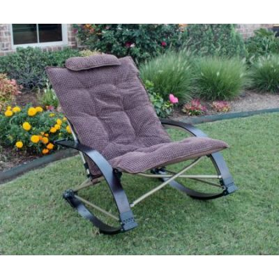 Folding Rocking Chair With Extendable Footrest In Chocolate   RC920SFR PD CH