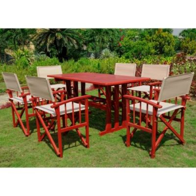 Messina Acacia Wood 7 Piece Dining Group in Barn Red - RE-07-FA-80A-6CH-BRD