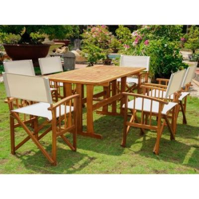 Messina Acacia Wood 7 Piece Dining Group in Stain - RE-07-FA-80A-6CH-STN