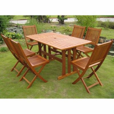 Royal Tahiti Zamora 7-Piece Dining Group in Stain - RE-07-VN-128-6CH