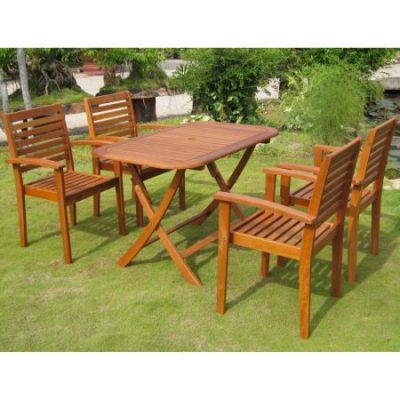Seva Royal Tahiti 5-Piece Patio Group in Stain - RE-53-1B-43-4CH