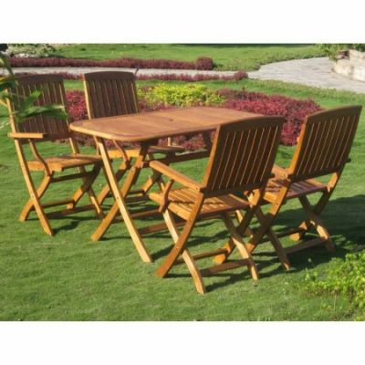Royal Tahiti Almeria 5-Piece Patio Set in Stain - RE-53-FA-40-4CH