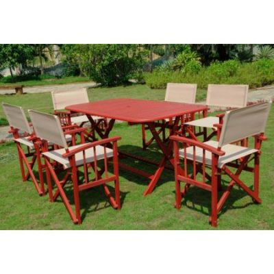 Cariati Acacia Wood 7 Piece Patio Group in Barn Red - RE-54-FA-80A-6CH-BRD