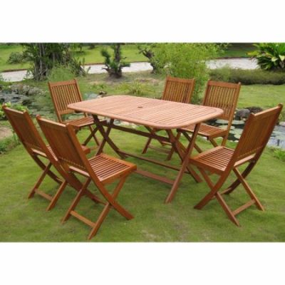 Royal Tahiti Galende Set of Seven Dining Group in Stain - RE-54-VN-128-6CH