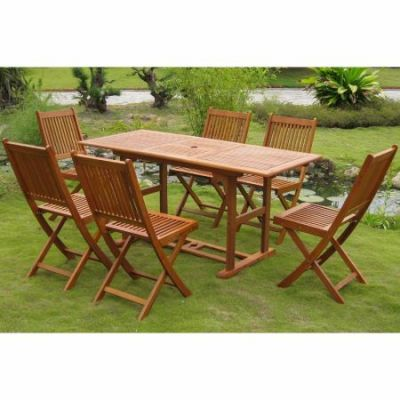 Royal Tahiti Manresa Set of Seven Dining Group in Stain - REE-124-VN-128-6CH