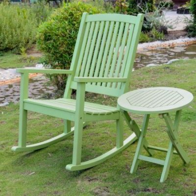 Nicosia Acacia Wood Rocker and Side Table in Mint Green - RO-03-RT-014-MGN