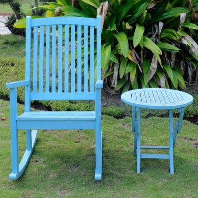 Nicosia Acacia Wood Rocker and Side Table in Sky Blue - RO-03-RT-014-SKB