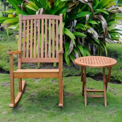 Nicosia Acacia Wood Rocker and Side Table in Stain - RO-03-RT-014-STN