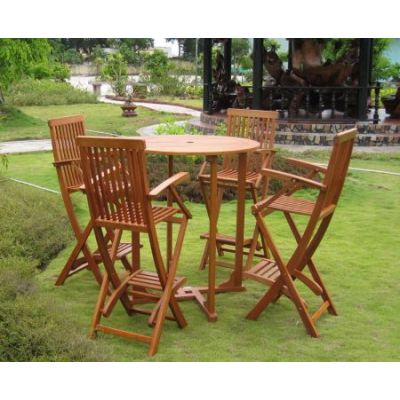 Lugo Set of 5 Bar Height Table Group in Brown Stain - RT-015-BC-007-4CH